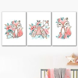 flor rosa posters Rebajas Cartoon Pink Fox Tent Flower Leaf Nordic Posters And Prints Arte de la pared Pintura de la lona Acuarela Wall Pictures Kids Room Decor