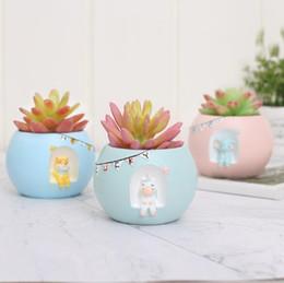 Resina creativa guardando i vasi di fiori carnosi stellati Micro-paesaggio giardinaggio piante in vaso all'ingrosso casa di moda creativa da