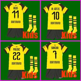 Crianças borussia on-line-Top Tailândia KIDS JÉRSEI FUTEBOL BVB Borussia Dortmund 18 19 M.GOTZE REUS SANICO PULÍSTICO 2019 kit de futebol meninos crianças crianças conjuntos de uniforme