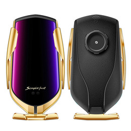 Suporte do sensor on-line-Qi carro 10W Phone Holder carregamento rápido Carregador sem fio 360 Rotação infravermelho sensor automático de fixação GPS Celular Bracket R1