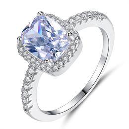 2019 überzogene Hochzeit Ringe für Frauen Platz simulierten Zirkon Schmuck Bague Bijoux Femme Verlobungsring Ringe von Fabrikanten
