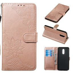 flower leather flip phone case Promo Codes - Leather Wallet Case For LG G8 Stylo 5 4 Stylo5 Stylo4 Imprint Flower ID Card Slot Lace Flip Cover Holder Phone Pouch Fashion Luxury Stand