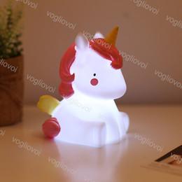 babytier nachttischlampen Rabatt Einhorn LED Nachtlicht Cartoon Tier Nachttischlampen Harz Baby Kinderzimmer Schlafzimmer Tisch Dekor Lichter Weihnachtsgeschenk