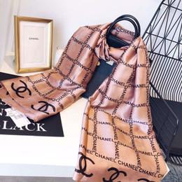 Schal plaid bandana online-Mode Schals für Frauen Print Seidenschal Weibliche 180x90 cm lange Schal Bandana für Kopf Große Hijab Schals Für Damen RT4310b