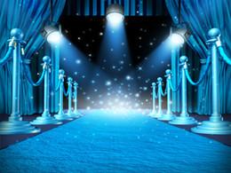 Romantik Düğün Studio Dikmeler için Mavi Perde Sahne Spotlight Vinil Fotoğrafçılık Arka planında Parlak Parıltı Photo Booth Arka nereden