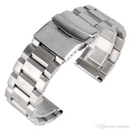 Reloj pulsera de acero 18mm online-Alta calidad 18mm / 20mm / 22mm / 24mm Ancho Soild Correa de reloj de acero inoxidable Reemplazo de plata Reloj pulsera Correa para reloj de pulsera