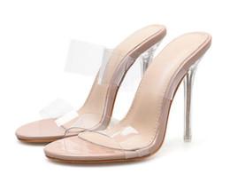Saltos claros on-line-16 cm de alta sapato sexy de salto Alto, Sandálias Do Dedo Do Pé Aberto Sapatos de Salto Alto Mulheres Transparente Perspex Sapatos de Salto Claro Bombas