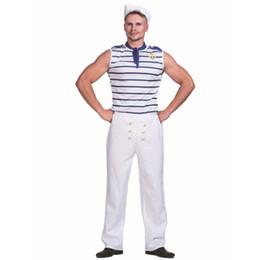 Costumi da marinaio maschile online-Uomini Popeye Sailor Crew Seaman imbarcazione Costume Carnevale Ufficiale Christmas Party di Halloween adulto di sesso maschile a righe Outfits