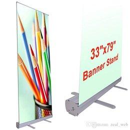 """2019 fabric display board 33 """"x 79"""" alumínio retrátil Roll Up Banner Stand promoção sinal para feira de exibição de conferência com um saco de transporte"""