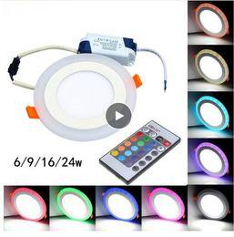 2019 lampade da cucina Vendita calda rotonda / piazza RGB LED Panel Light + Remote 6w / 9w / 16w / 24W incasso a LED pannello di luce a soffitto AC85-265V + Driver