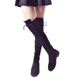Canada Femmes lacent hiver Overknee rond épais fond cuir automne bottes occasionnelles bandage fermeture à glissière latérale cheap leather overknee Offre