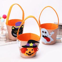 2019 tote gato de dibujos animados Ghost Print Halloween Buckets Bag Creative Baby Spider Basket Candy Bolsos Cartoon Kids Cat Tote Home Festiavel Supply TTA1688 tote gato de dibujos animados baratos