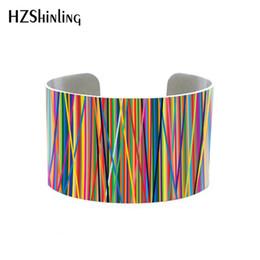 Mehrfarbige armbänder online-2019 Trendy Geometric Jewelry Multi Colored Manschette Armband mit Mosaik Design Zeitgenössische Armreif Künstlerische Geschenk Metall Armreifen