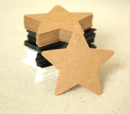 Decoração de estrelas penduradas no casamento on-line-DIY Papel Kraft Tag Estrela Pendurar Tag Decoração de Casamento Cartões de Papel Saco de Presente Embrulhando Suprimentos Forma de Estrela