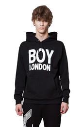 Ragazzo londra pullover bianco online-BOY LONDON Maglia comoda e alla moda BOYLONDON Felpa con cappuccio stampata nera / bianca