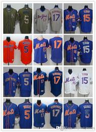 2019 listras amarelas de jérsei preto personalizado Homens mulheres jovens NewYork Jersey Mets # 5 David Wright 15 Tim Tebow 17 Keith Hernandez azul camisola do basebol
