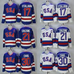 17 Jack O'Callahan 1980 Miracle On Ice Team USA Hockey 30 Jim Craig 21 Mike Eruzione Stitched Uomo Hockey Jersey Spedizione gratuita da camma gialla fornitori