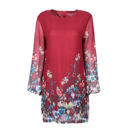 Motif spandex en Ligne-Floral Imprimé Robe Automne Casual Femmes Fleurs Motif Robes À Manches Longues O-cou Dress Dames Parti Vêtements D3