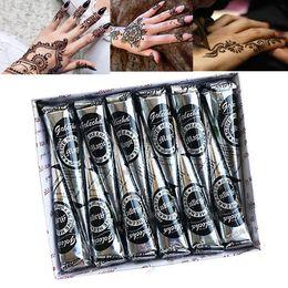 Pegatinas para pintar el cuerpo online-12 Unids 25g Golecha Conos de Henna Mehndi Natural Pasta de Tatuaje de Henna India para Etiqueta Engomada del Tatuaje Temporal Mehndi Maquillaje Pintura Corporal