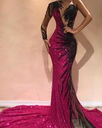 um ombro chiffon pageant vestidos Desconto Plus Size 2019 Lindo Fuchsia Sereia Vestidos de Noite Aberta Voltar Lantejoulas de Um Ombro Evening Prom Vestidos Árabe Pageant Celebrity Dress