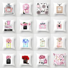 Almofada de perfume on-line-Fronha forma frasco de perfume impressão carro fronha capa de almofada de tecido de casa sofá almofada de apoio atacado para mapear personalizado