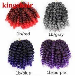 curling wand for hair Coupons - 8'' Jumpy Wand Curl Jamaican Bounce Twist Ombre Gray Synthetic Braiding Hair Extension 20 Roods Pack Crochet Braid Kanekalon Hair For Woman