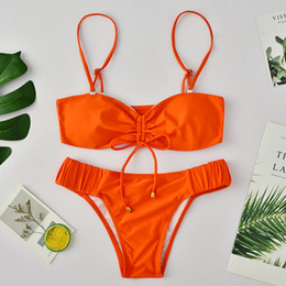 biquíni laranja bandeau Desconto Bandagem Frente Tie Sexy Swimsuit 2019 Bandeau Neon Laranja Tanga Biquíni Set Alta Corte Maiô Mulheres Banhista Two-piece Swimwear