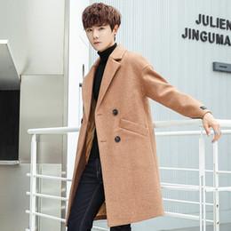2019 peito japonês Long Coat Brasão Men Moda bolso Decoração Abotoamento inverno XL XXL Men Japanese Moda Inverno Longo Trench desconto peito japonês