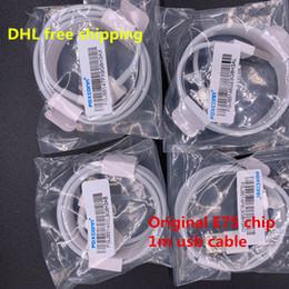 Cabo usb grátis on-line-1 m 3ft original oem foxconn e75 chip usb cabo de transferência de dados cabo de carregamento para iphone xs x max 8 6 6 s 7 plus dhl frete grátis