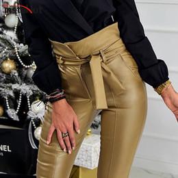 calças de cintura alta cintura Desconto InstaHot Ouro Black Belt Lápis de Cintura Alta Calça Mulheres Faux Couro PU Caixilhos Calças Compridas Casual Sexy Design Exclusivo de Moda