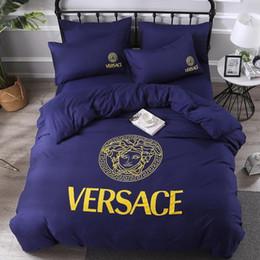 biancheria da letto in oro rosa Sconti Set di biancheria da letto classica in cotone lavato di qualità della moda per set di lenzuola per adulti 4 pezzi