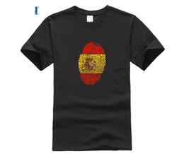 2019 flagge großhandel spanien Billig Großhandel Spanien Flagge Fingerabdruck Lustige T-shirt Männer Mode Kurzarm Oneck Spanische Flagge baumwolle T-shirt männlich lässig T rabatt flagge großhandel spanien