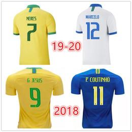 Бразильская желтая майка онлайн-Тайский качество 19 20 трикотажные изделия футбола мужчин желтый и белый Бразилия Джерси 2019 2020 Бразилия G.JESUS COUTINHO FIRMINO MARCELO Камиза де Futebol