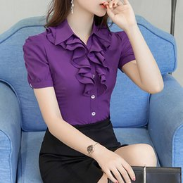 2019 blusa blanca de manga corta Blusa de verano blanca púrpura Camisa de trabajo de oficina Tops casuales Camisas de manga corta Tallas grandes 5xl Blusas de mujer Camisa de gasa Blusas blusa blanca de manga corta baratos