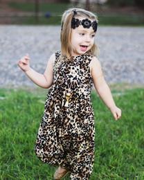 2019 calças bonitos do bebé Recém-nascidos Babys Meninas Meninos Roupas de Verão Sem Mangas Colete De Leopardo Macacão Bonito Macacão Harem Pants Outfits Baby Girl Roupas calças bonitos do bebé barato