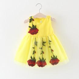 niña de moda vestidos rosa Rebajas 2019 Vestidos de verano para niñas bebés Moda niña bordada Vestidos de flores de rosa Bebé Princesa Princesa Vestido de fiesta de cumpleaños