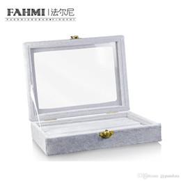 Caixas de presente cinza jóias on-line-FAHMI Original Anel forma transparente exibição Grey Jewelry Box Proteção presente Moda Simples Requintada caixa de exibição de fábrica