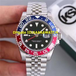 2019 relógios de luxo pêndulo KS Vermelho Azul Cerâmica Bezel 1167-10BLNR MELHOR GMT Mens Watch Aço Inoxidável ETA 2836-2 Movimento Automático 28800bph AZUL Superlume Relógios