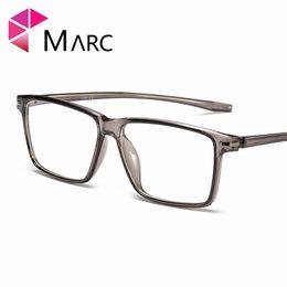 2b40033208709 MARC Men TR90 Fashion Frame Eyeglass Personality Clear lens Resin Trend Glasses  Plastic Matte Transpaprent Grey Eyewear G8026 1