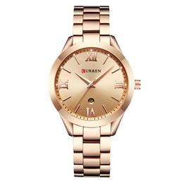 Escalas simples online-CURREN nuevo 9007 calendario simple impermeable para mujer reloj de oro rosa Escala digital romana Sen tendencia de moda modelos femeninos reloj de cuarzo