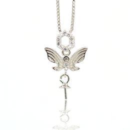 925 collane d'argento della farfalla insiemi online-Argento 925 ciondolo perla perlata montaggio staffa di montaggio collana pendente fai da te accessori semilavorati micro-intarsiato collana a farfalla