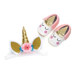 Pelle shose online-Unicorno Bebè con fascia Fascia Moccs Mocassino Bebè First Walkers nappe in morbida pelle Neonati scarpe 1 set = shose + copricapi