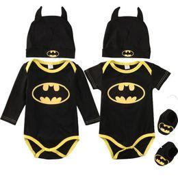 mamelucos del traje Rebajas Bebé recién nacido niño niña ropa Batman mamelucos + zapatos + trajes de gorro Conjunto de trajes de 3 piezas