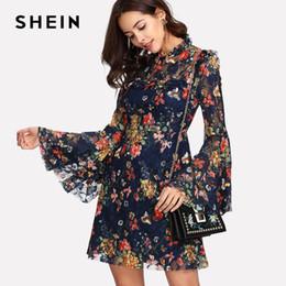 01475010d21 Летнее платье с цветочным принтом Swin A Line с длинным рукавом