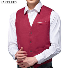 db77846246c Mens V Neck Suit Vest Casual Regular Fit Single Breasted Wine Red Wedding  Dress Waistcoat 2018 Business Work Gilet Homme Top 4XL