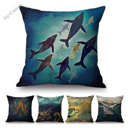 Cuscini in oro blu online-Blu metallizzato oro polpo balena marina vive design geometrico decorativo per la casa federa in cotone lino divano sedia cuscino