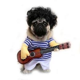 Guitarra engraçada on-line-Traje de guitarra para animais de estimação Cão Gato Traje engraçado Cães Gatos Pet Roupa de festa engraçada Cão engraçado Guitar Player Cosplay Costume RRA343