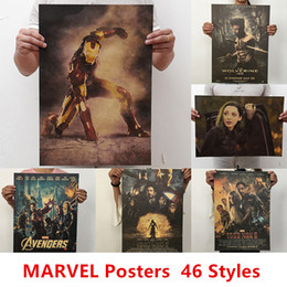 film heroes Promo Codes - 46 styles Wall Stickers Movie Retro Poster Vintage Anime Car Posters and Prints Coffee Marvel Film Super Heroes Kraft Paper Posters