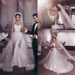 fd480b2d333 Gorgeous Overskirts Mermaid Wedding Dresses 2019 Arabic Said Mhamad With  Detachable Train Sweetheart 3D Appliques Personalized Bridal Gowns  affordable ...