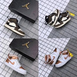 Wholesale TravisScottHavaÜrdün1 Hava Kuvvetleri J1 Retro Çocuk Ayakkabıları Çocuk Spor Basketbol Ayakkabıları Erkek Kız Sneakers Çizme